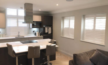 Window Shutters for Kitchen Diner of Modern Home in Addlestone, Surrey