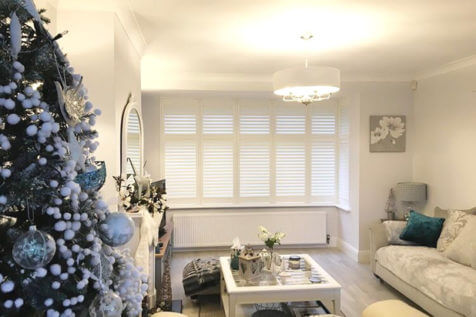 Living Room Bay Window Shutters for Home in Oxted, Surrey