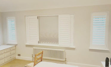 Shutters with Integrated Blinds for Main Bedroom of Home in Croydon, Surrey